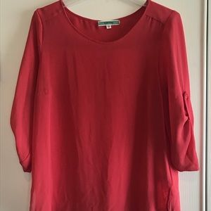 Pleione Coral 3/4 Hi-low blouse S Small